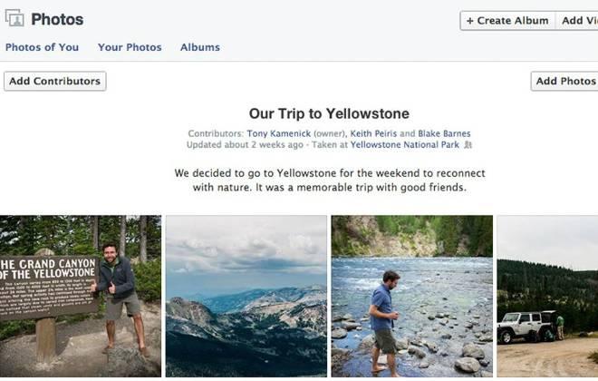 Facebook agora terá álbuns de fotos compartilhados