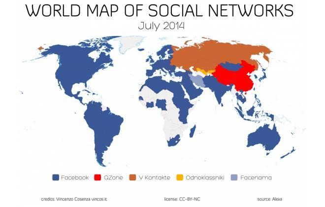 Mapa mundi das redes sociais